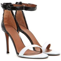 Givenchy Nadia Leather Sandals ($885) ❤ liked on Polyvore featuring shoes, sandals, heels, kengät, high heels, black, leather heeled sandals, heeled sandals, black high heel sandals and leather shoes