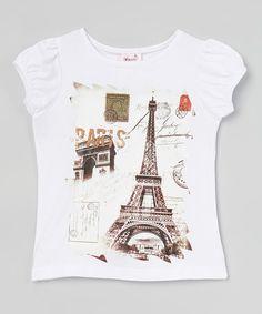 Look at this #zulilyfind! White Short-Sleeve Eiffel Tower Tee - Toddler & Girls #zulilyfinds