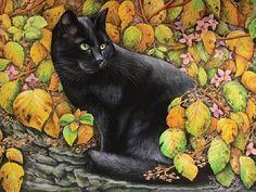 A black cat in autumn leaves. Painting by Russian artist Irina Garmashova (Garmashova-Cawton)