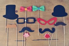 Set of 12 Ultimate Photo Prop Set // Wedding Photo Booth Props // Mustaches, Lips, Glasses, Hats and Bow Ties on a stick