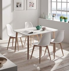 Kika Extensible Table Pack and 4 Sea Chairs - Kika Table and Sea Chairs Pack by Idea Home, a Nordic style set that you will love when you have it - Simple Apartment Decor, Small Apartment Decorating, Apartment Kitchen, Apartment Living, White Dinning Table, Dining Table, Big Bedrooms, Dinner Room, Concept Home