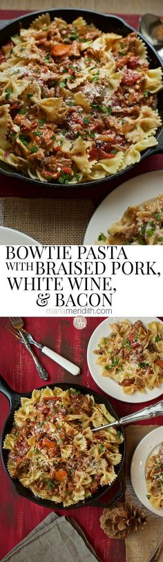 Bow Tie Pasta with Braised Pork, White Wine and Bacon recipe @PorkBeInspired #porkbeinspired on MarlaMeridith.com ( @marlameridith )