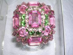 "Vintage Schreiner New York Costume Jewelry Pin Brooche Rhinestones 2 25"" | eBay"