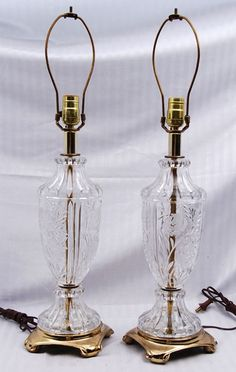 Large Crystal Lamps (rewired) for auction. Measures approximately high Crystal Lamps, Large Crystals, Floral Motif, Auction, Table Lamp, Canada, Lighting, Antiques, Antiquities
