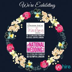 Yahire will be exhibiting our wedding products at both of these shows #weddingshow #weddingfair #chairhire #thenationalweddingshow #furniturehire #eventprofs #events