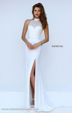 Glorious Sherri Hill gown with long jersey skirt and truly unique beaded overlay bodice and back cut out.