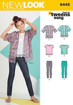 Simplicity 6445 Easy Girl's Kimono, Knit Top and Leggings