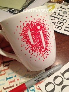 DIY Dotted Sharpie Mug~ all you need is a mug, sharpie and stickers!   ~ Note: Sharpie will wash off. Need a pen made to work on porceline