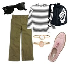 """Sporty Spice"" by megangordon on Polyvore featuring Madewell, Monki, Shellys, NIKE, Ray-Ban, Accessorize, stripes, Oxfords, sporty and menswear"