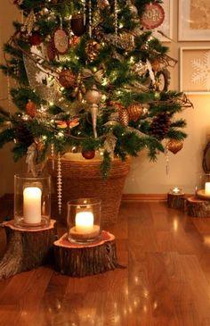 Living room Christmas love the tree stump candle holders Noel Christmas, Christmas Design, Country Christmas, All Things Christmas, Winter Christmas, Christmas Crafts, Christmas Decorations, Magical Christmas, Elegant Christmas