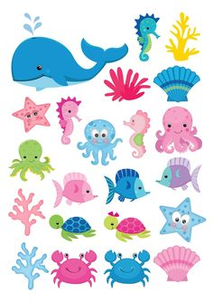 22 Under the sea fish Shapes theme Cake Toppers On Icing - simply cut out