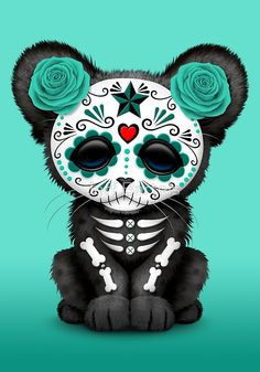 Teal Blue Day of the Dead Sugar Skull Panther Cub | Jeff Bartels