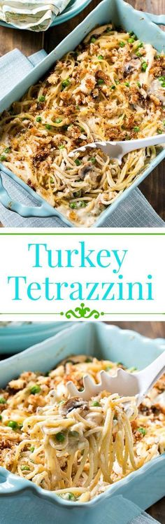 """From """"Spicy Southern Kitchen"""", this recipe for Turkey Tetrazzini is just thing when you're playing hostess on chilly autumn evenings. The chicken broth, mushrooms, milk, cream, and spices will warm your guests and little ones from head to toe. #RecipesForDinner"""