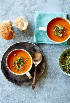 Sweet potato and miso soup with sesame coriander crumble