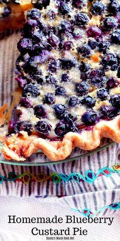 Blueberry Custard Pie, Fresh Blueberry Pie, Homemade Blueberry Pie, Blueberry Recipes, Blueberry Pie Fillings, Easy Blueberry Desserts, Blueberry Tarts, Homemade Pies, Coconut Custard
