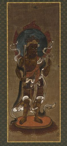One of the twelve deva: Rasetsu-ten (Raksasa, specifically Nirrti) | late 15th-early 16th century | Muromachi period | Color and gold on paper | Japan | Gift of Charles Lang Freer | Freer Gallery of Art | F1907.668