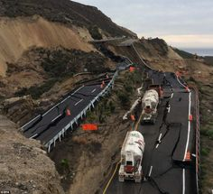 Mexican coastal highway cracks up and slides 300ft down mountainside into sea after earthquake near U.S. border - 12/2013