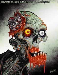This is a zombie sketch done on the Cintiq with Photoshop. ZOMBIE HEAD 1 by Hartman Zombie Life, Zombie Head, Zombie Mask, Homer Simpson, Voodoo, Zombie Survival, Akira, Zombie Kunst, Zombie Drawings