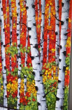Birch trees small canvas art, Colorful home wall decor, Abstract canvas landscape, last minute gift Small Wall Decor, Canvas Wall Decor, Home Wall Decor, Birch Trees Painting, Tree Branch Tattoo, Easy Landscape Paintings, Abstract Canvas, Painting Canvas, White Birch Trees