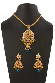 Crystal & Meena studded necklace with jhumka earrings. Earrings With Price, New Designer Dresses, Indian Necklace, Raksha Bandhan, Jewelry Necklaces, Jewellery, Necklace Online, Matching Necklaces, Diwali