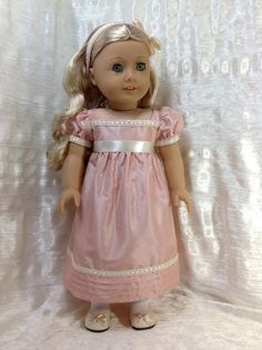 RESERVED Pink silk dress, pantalettes and headband for Caroline $128.00 Someone else created this wonderful dress. Note the details!