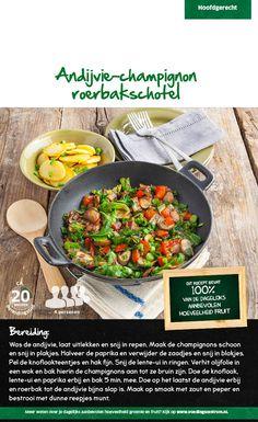 Recept voor andijvie-champignon roerbakschotel #Lidl