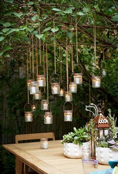 Mini hanging lanterns for the garden