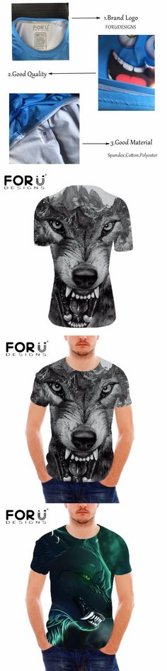 FORUDESIGNS 3D Crazy Wolf Printing Men's T Shirt Summer Slim Fit Top Tees Male Short Sleeved T-shirt Streetwear T Shirts Homme