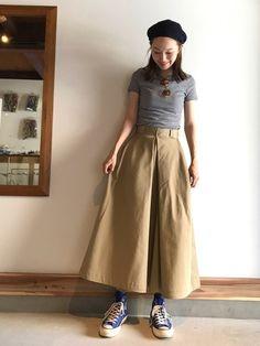 ボリュームスカートにはタイトなTシャツ mio instagram →m_ooo