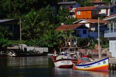 Colorful fishing boats in the harbor of Florianopolis, Brazil.