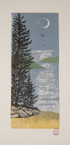 Great Lakes Shore Line, linoleum cut, color reduction print of our lake Michigan Shore Line early evening. $125.00, via Etsy.