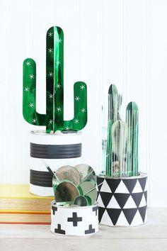 decoração reciclada cacto papel vaso lata