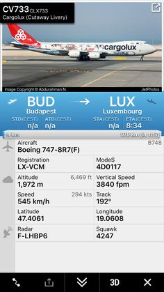 Flight CV733 from Budapest to Luxembourg http://fr24.com/CLX733/dfb3c85