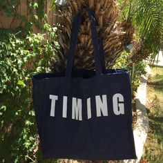 MAKE AN OFFER Timing Denim Blue large tote bag New never used , TIMING written on it Timing Bags Totes