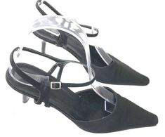 49e50b5d201 COACH Kitten Heel Cleo Sz 7 B Satin Pumps Black Strappy Shoes Made In Italy