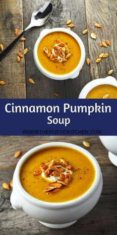 This cinnamon pumpkin soup recipe is the perfect way to cozy up this Autumn. Its sweet and comforting topped with crunchy spicy pumpkin seeds. Healthy Recipes, Fall Recipes, Vegetarian Recipes, Cooking Recipes, Autumn Recipes Vegan, Winter Soups, Autumn Soup, Soup And Salad, Soups And Stews