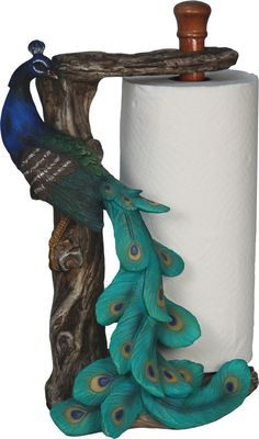 Brand New Peacock Bird Standing Countertop Paper Towel Holder