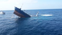 The freighter MV Floreana aground in the bay of Puerto Baquerizo Moreno off the coast of San Cristóbal - photo courtesy T&T Salvage