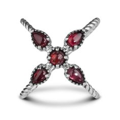 Carolyn Pollack Sterling Silver and Red Garnet X Ring