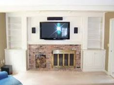 Most Popular DIY Entertainment Center Design Ideas For Living Room Built In Entertainment Center, Entertainment Room, Off Center Fireplace, Diy Fireplace, Wall Fireplaces, Fireplace Remodel, Basement Walls, Basement Ideas, Craftsman Style