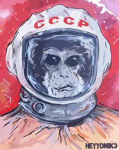 SPACE MONKEY Art Print by Michael J. | Society6