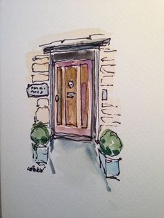 Entry Way Watercolor Card por gardenblooms en Etsy