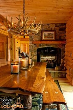 cozy cabin dining room with fireplace