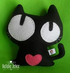 Black cat cute, gato preto fofo, feltro