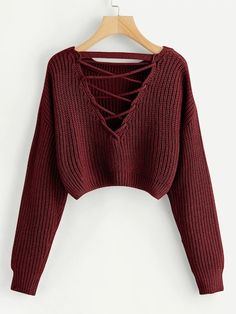 Shop Lace-Up V Back Crop Jumper online. SheIn offers Lace-Up V Back Crop Jumper & more to fit your fashionable needs. Teen Fashion Outfits, Mode Outfits, Mode Turban, Tokyo Street Fashion, Vetement Fashion, Grunge Look, 90s Grunge, Soft Grunge, Looks Plus Size