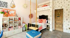 Genevieve Gorder's home. One of the coolest kids' rooms I've ever seen! Love that swing.