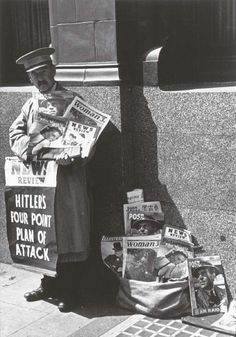 News vendor during the Blitz, Victoria Station, 1940,  George Rodger. English Photojournalist (1908 -  1995)