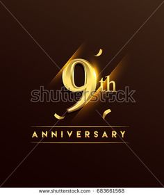 9th anniversary glowing logotype with confetti golden colored isolated on dark background, vector design for greeting card and invitation card.