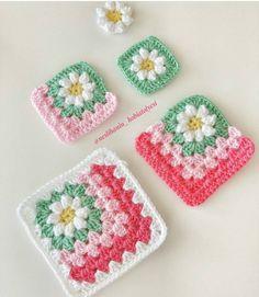 Daisy Square Motif - Free Crochet Pattern Chart - New Craft Works Crochet Squares Afghan, Crochet Bedspread, Granny Square Crochet Pattern, Crochet Flower Patterns, Crochet Afghans, Crochet Blanket Patterns, Crochet Motif, Crochet Flowers, Free Crochet