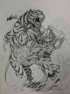 Dragon Tattoo Sketch, Dragon Tattoo Designs, Tattoo Sketches, Tattoo Drawings, Leopard Tattoos, Skull Tattoos, Tiger Tattoo Sleeve, Sleeve Tattoos, Japanese Tiger Tattoo